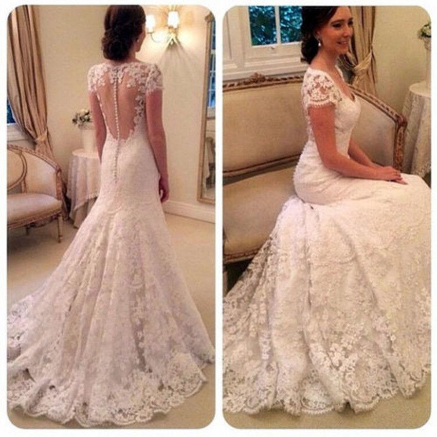 Pageant Lace Cap Sleeve Mermaid Wedding Dresses With Train For Bride