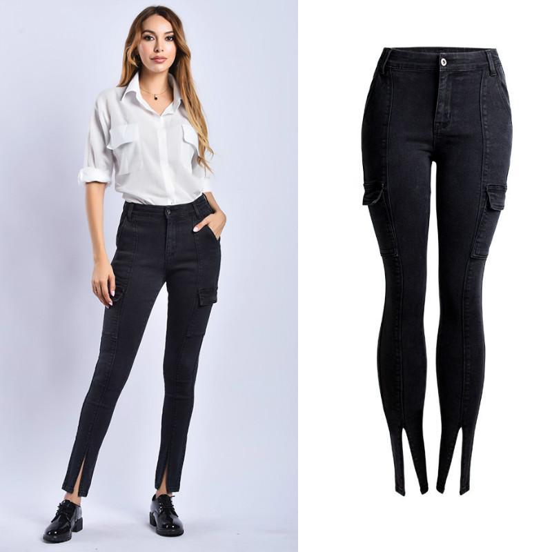 4e07afd12 Súper estilo inglés Jeans negros mujeres bolsillos a rayas laterales  Pantalón de mezclilla Cintura alta Pierna descubierta Pierna abierta  Vaqueros ...