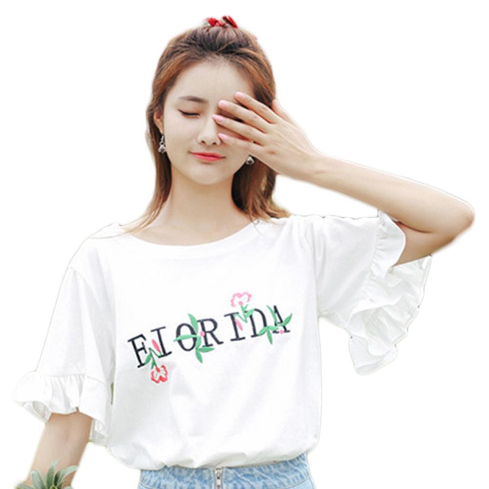 ad32488303b2 Женская летняя белая повседневная расклешенная футболка с длинным рукавом с  ...