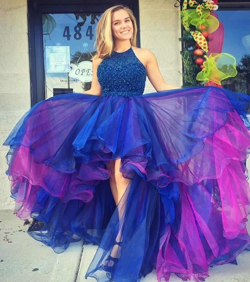 7e3fbfd07c Chic Colorful Royal Blue Organza Hi Lo Prom Dresses 2019 Gorgeous Beadings  Halter Neck Pageant Celebrity Gowns Evening Dresses