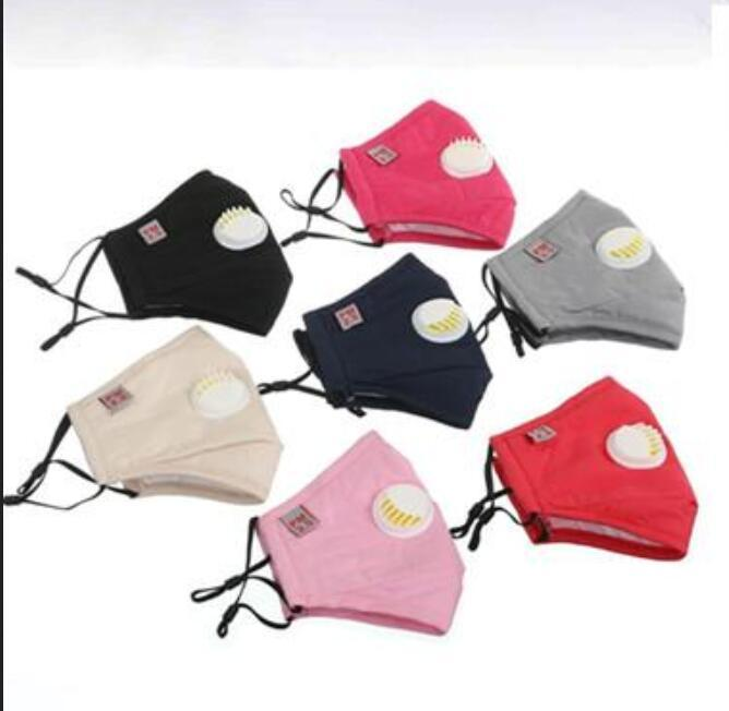 DHL MEN Women Kids Washable Face Mask Reusable Cloth Cotton Face Masks Replaceable Filter Valve Respirator With 1 FREE PM2.5 Filter