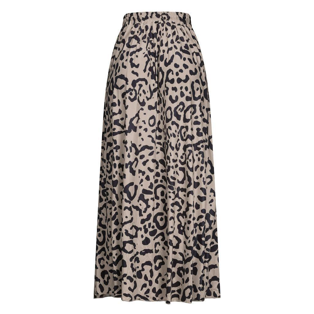 b72255f0a2a197 2019 2019 Fashion Summer Womens Leopard Print Floor Length Drawstring  Pleated High Waisted Bohemian Maxi Skirt L0416 From Yuanchun, $32.51 |  DHgate.Com