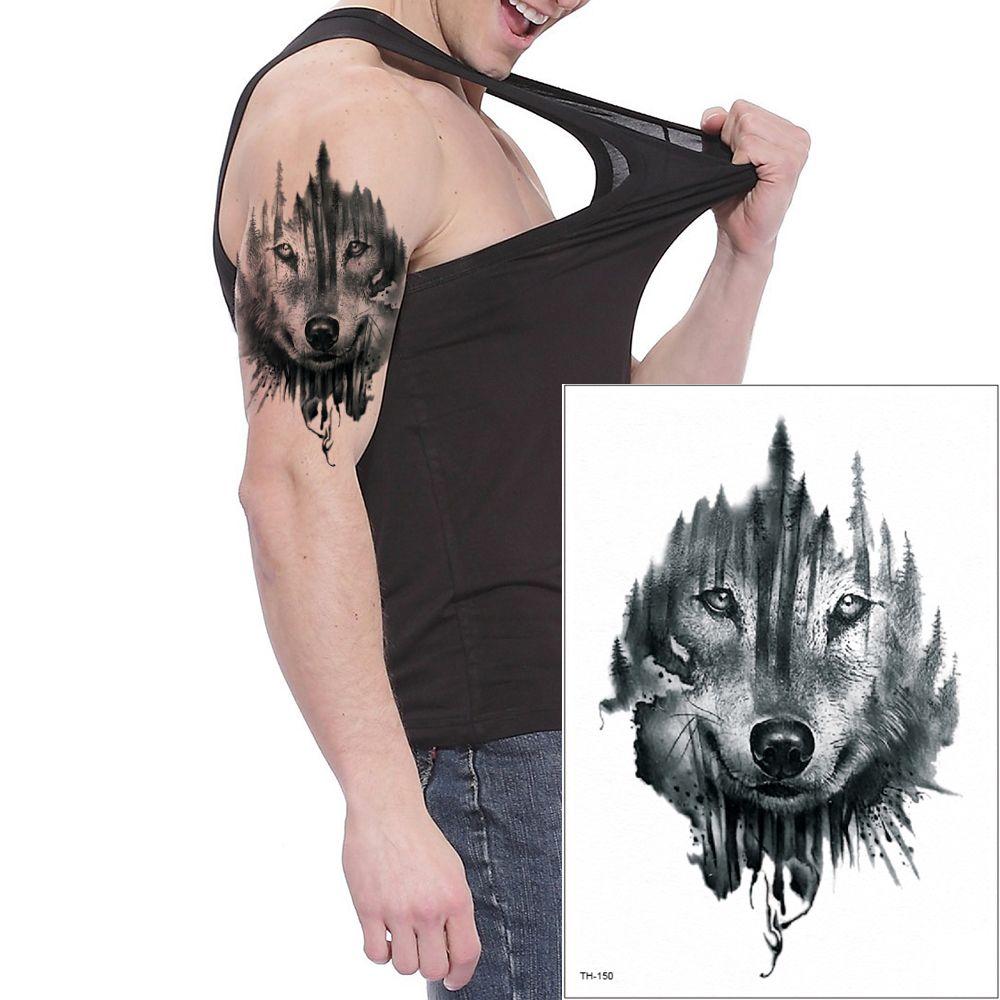 4ae0e1ab99f23 Animal Wolf Design Temporary Tattoo Sticker Body Art Arm Leg Back Decal  2019 Beach Party Gift Tattoo Stickers Waterproof Paper Beauty TH 150 Tattoo  Tribal ...