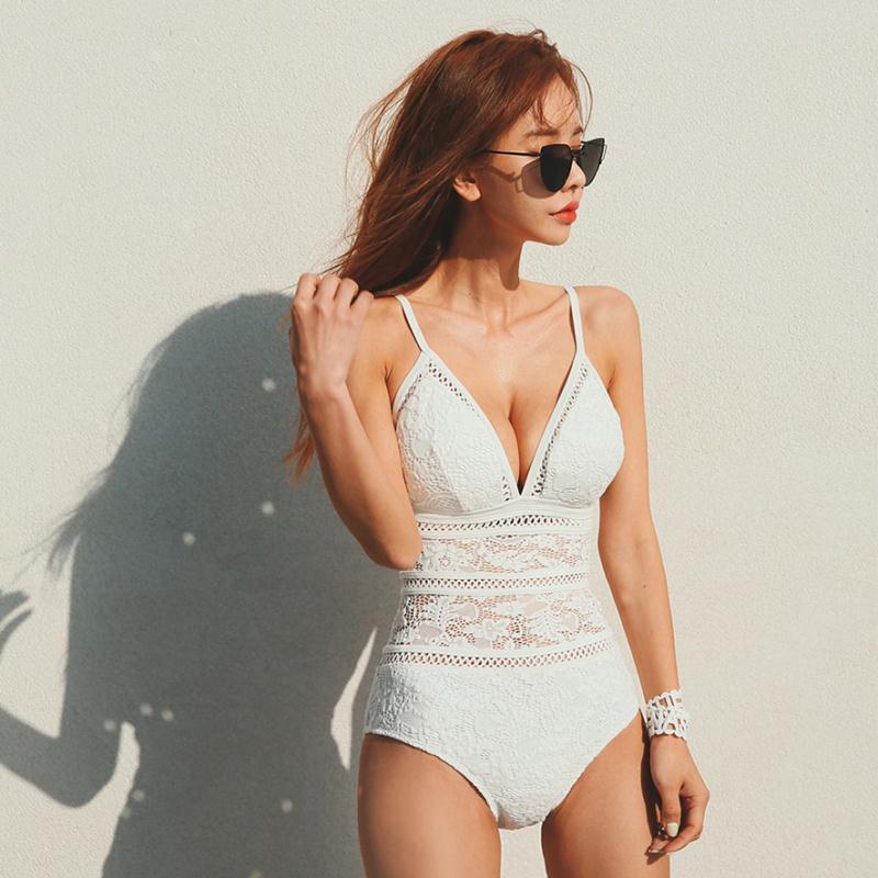 d8ef16637f 2019 Factory Direct Ladies One Piece Swimsuit Korean Style Explosion Sexy  Slim Swimwear Lace Spa Beach Conservative Triangle Women Bikini From  Jinzhongyu