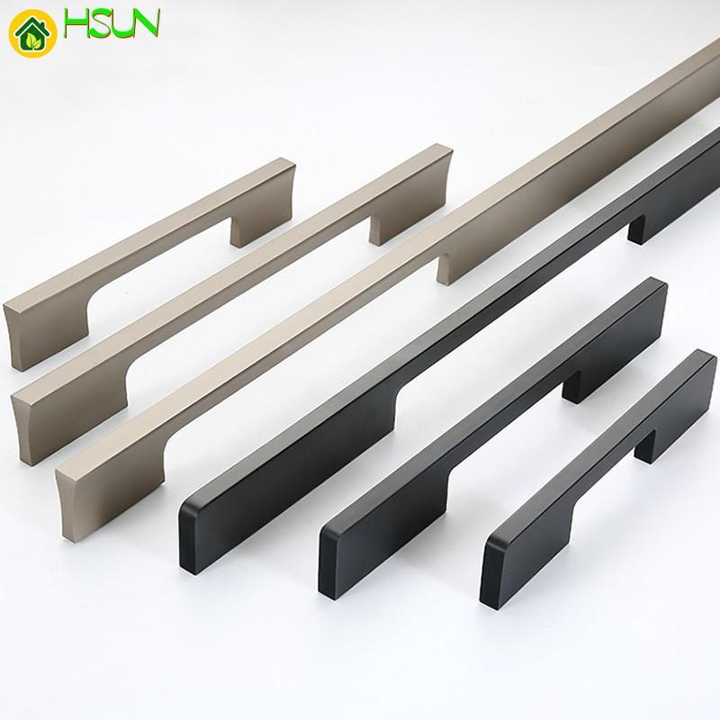 2pcs Black Gold Hidden Cabinet Handles Aluminum Kitchen Cupboard Pulls Drawer Knobs Furniture Bedroom Door Long Handle Hardware