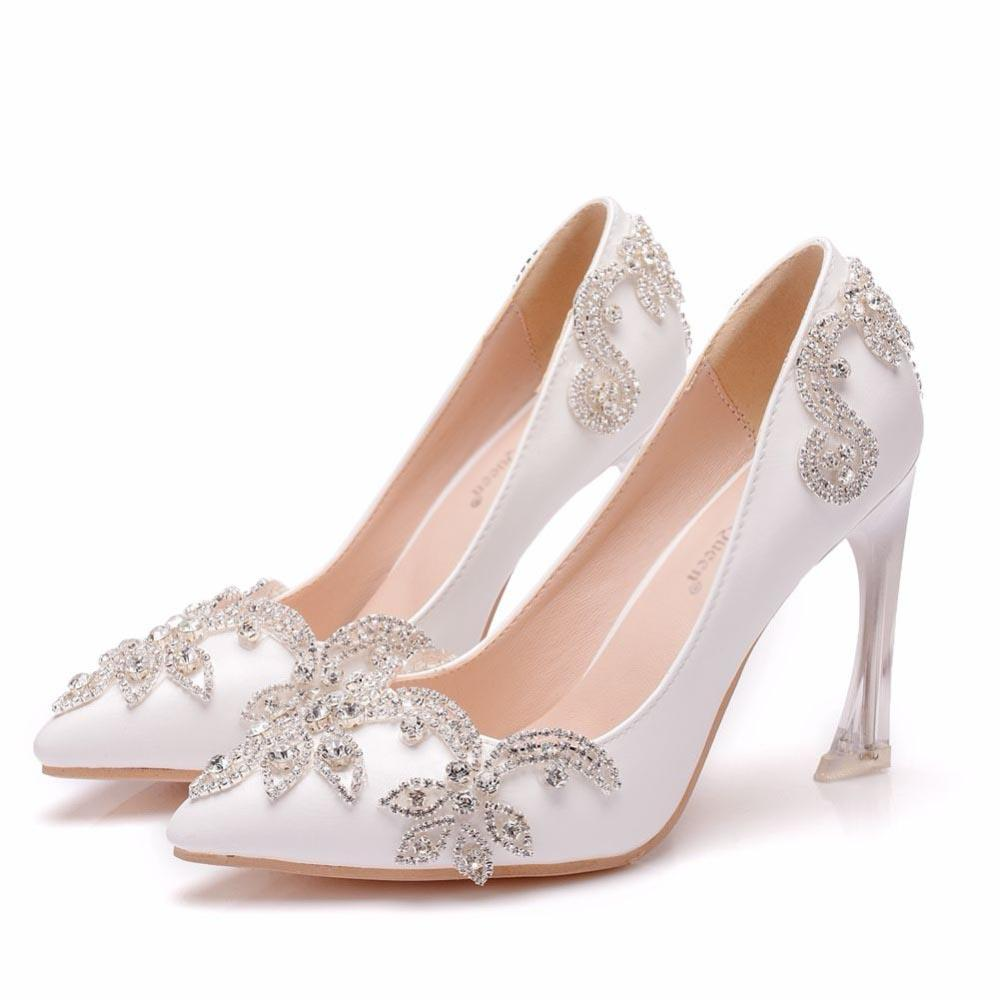 2019 9CM Crystal Heels Pointed Toe High Heels Pumps Rhinestone Bridal Wedding Shoes Pearls Party Evening Shoes