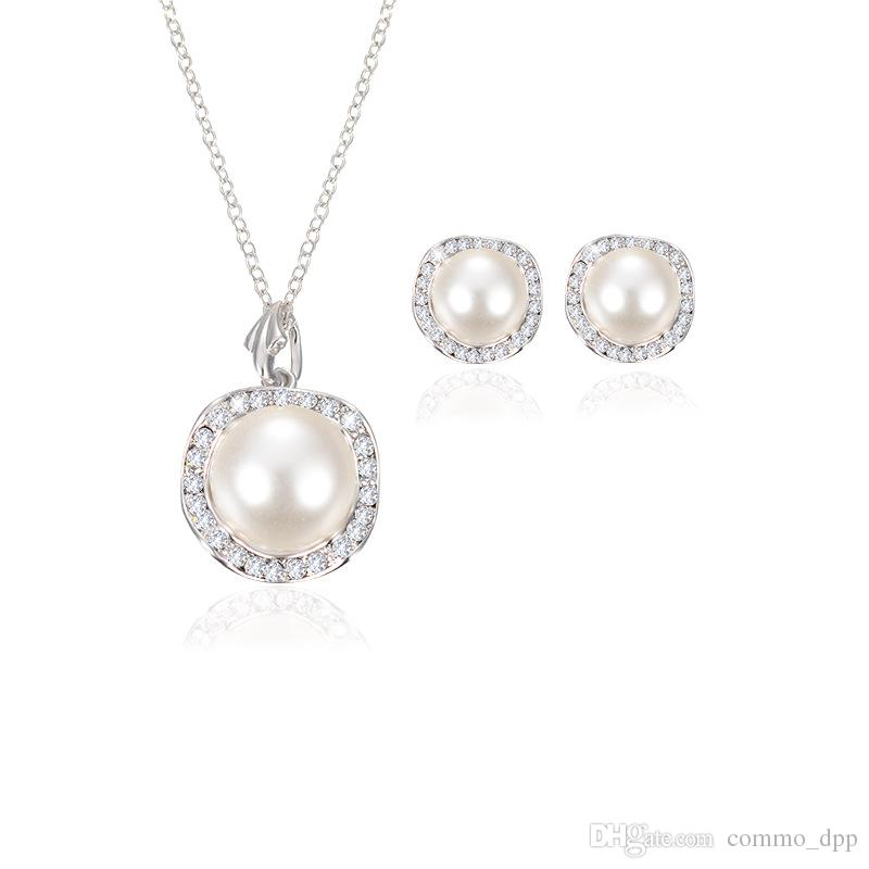 Women Wedding Pearl Pendant necklace Stud Earrings Set For Ladies Crystal Faux fake Pearl Jewelry bride Bridesmaid Engagement Gift