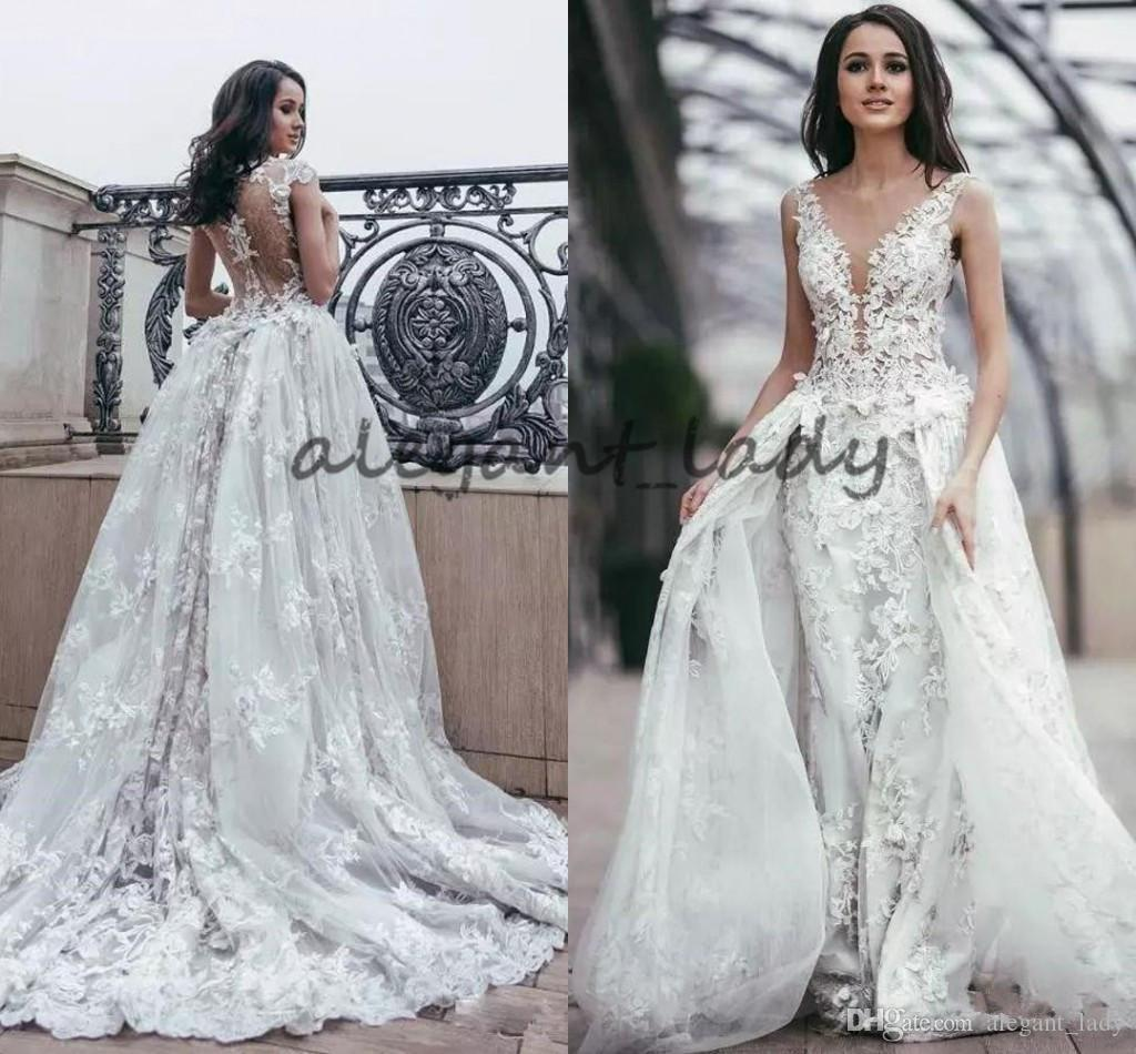 2018 Overskirt Lace princess Wedding Dresses Sheer Plunging Neck with 3D Flower Illusion Back Tulle garden castle Wedding bridal Dress