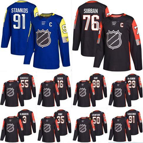 sports shoes c10d8 2bd60 2017 -18 Seasons All Star Game 35 Pekka Rinne 12 Eric Staal 29 Nathan  Mackinnon 3 John Klingberg Hockey Jerseys