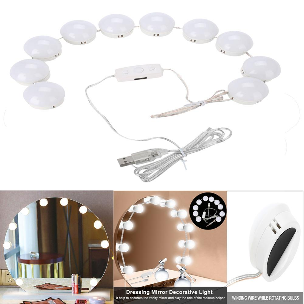 Usb led vanity light bulbs dimmable comestic led makeup mirror light string for dressing desk table decoration make up mirrors folding mirror illuminated