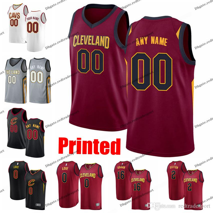 sale retailer 1f120 82bc0 Printed Cleveland City Cavaliers Clarkson Kevin Love Tristan Thompson Cedi  Osman Collin Sexton CAVS Edition Basketball Jersey