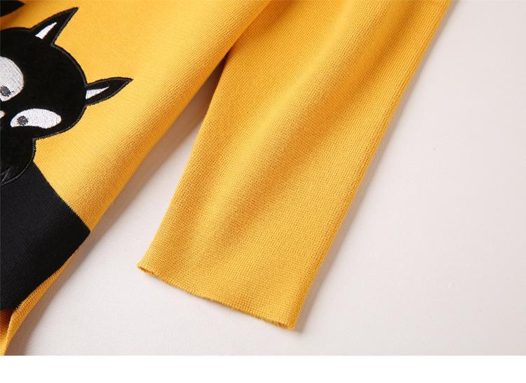 Baharcelin Mulheres Menina Inverno Camisola Vestido Pullovers De Malha Casual Solto Longo Camisola Impresso Gato Animal Camisola Vestidos