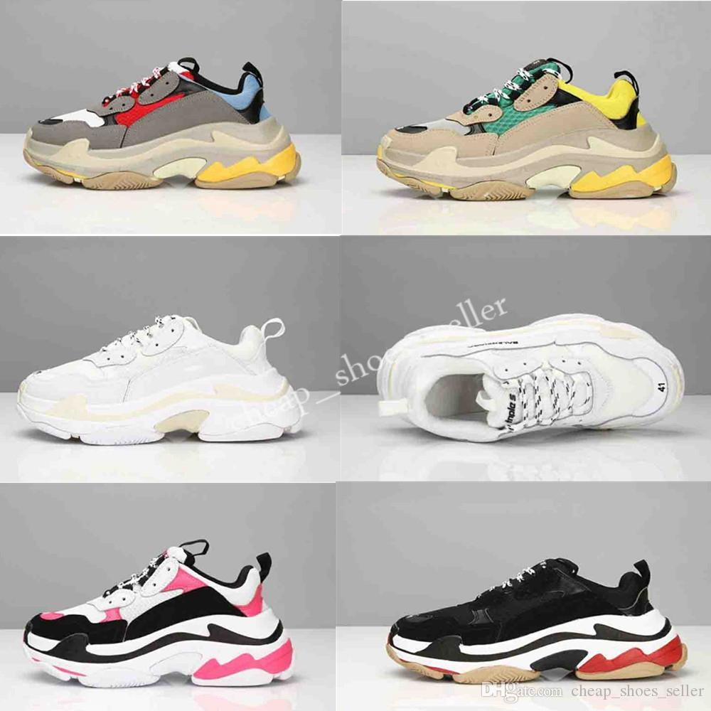 2019 New Paris 17W Triple S Sneaker Triple S Casual Hot Dad Shoes for Men s Women White Black Sports Tennis Running Shoe Size 36 45