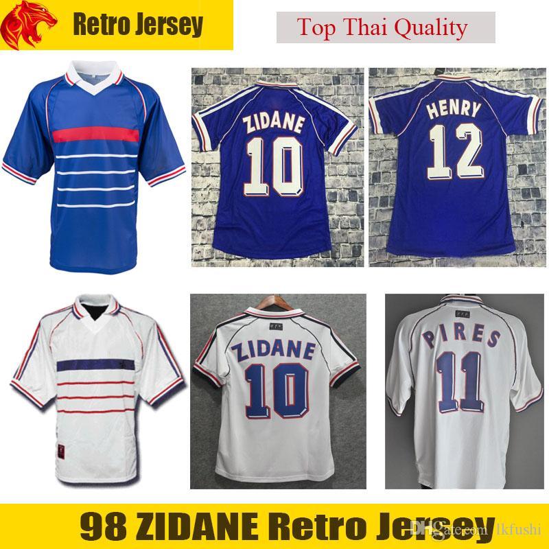 Compre 1998 Retro ZIDANE Camisa De Futebol 98 DESCHAMPS HENRY Retro Jersey  PIRES Clássico Réplica Camisa De Futebol Em Casa Azul Fora Camisa De  Futebol ... a8585016cb810
