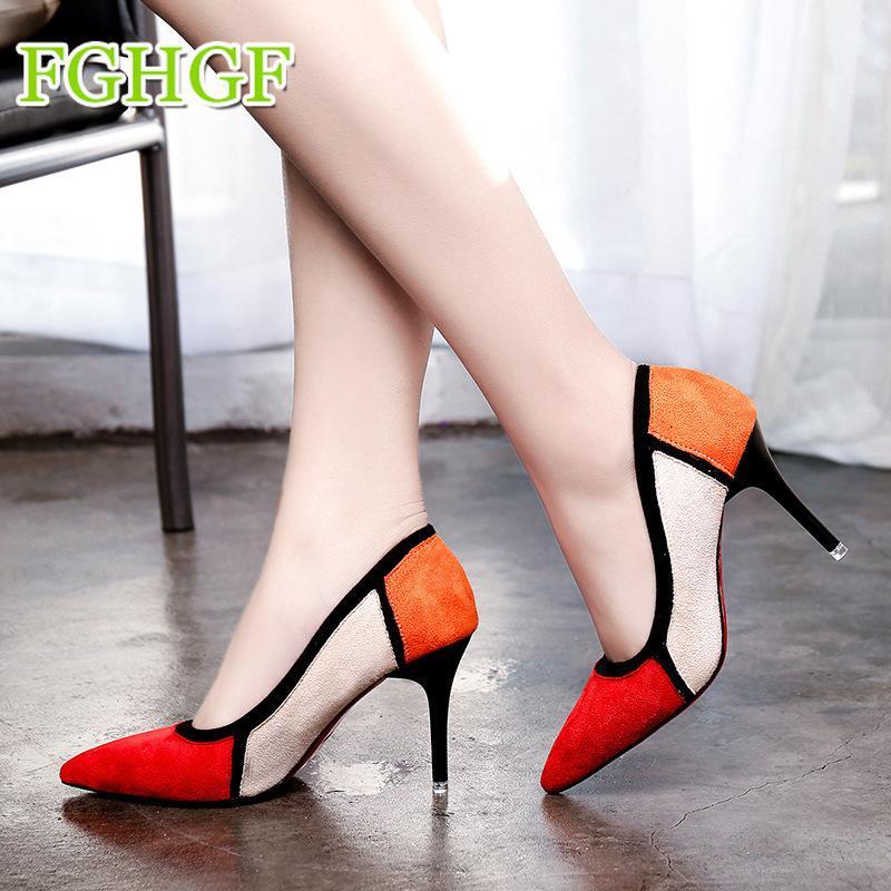 8a371f6c4 Compre Designer De Vestido Sapatos De Moda Mulheres Bombas 2019 Vestido De  Casamento Dançante Confortável Rebanho Apontou Toe De Cor Misturada De Salto  Alto ...