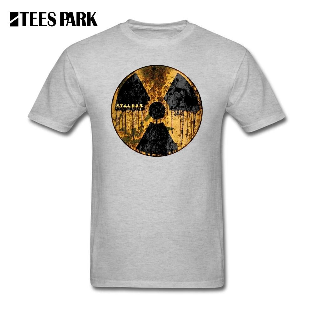 Gray T Shirt Men Stalker Radiation Symbol Tee Shirts Teenage O Neck Short Sleeve Clothes Hot Sale Adult Cotton T-shirts