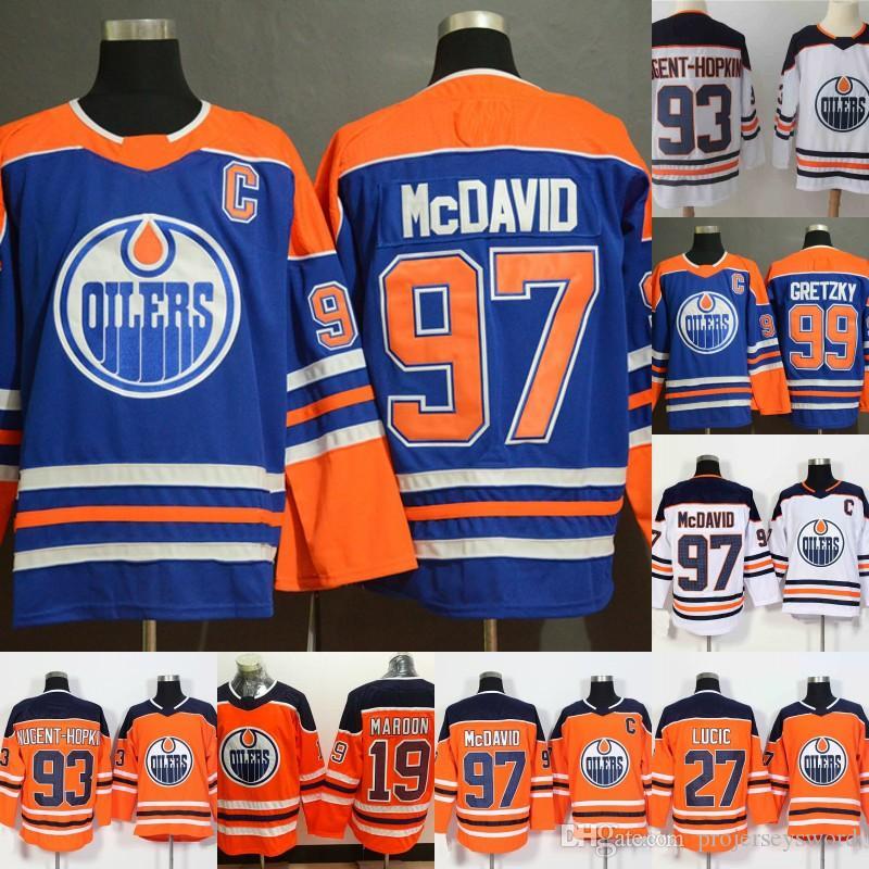 91a0c13f0cd 2019 Edmonton Oilers Jersey Captain C Patch 97 Connor McDavid 99 Wayne  Gretzky 33 Cam Talbot 27 Milan Lucic 29 Leon Draisaitl Hockey Jersey From  ...