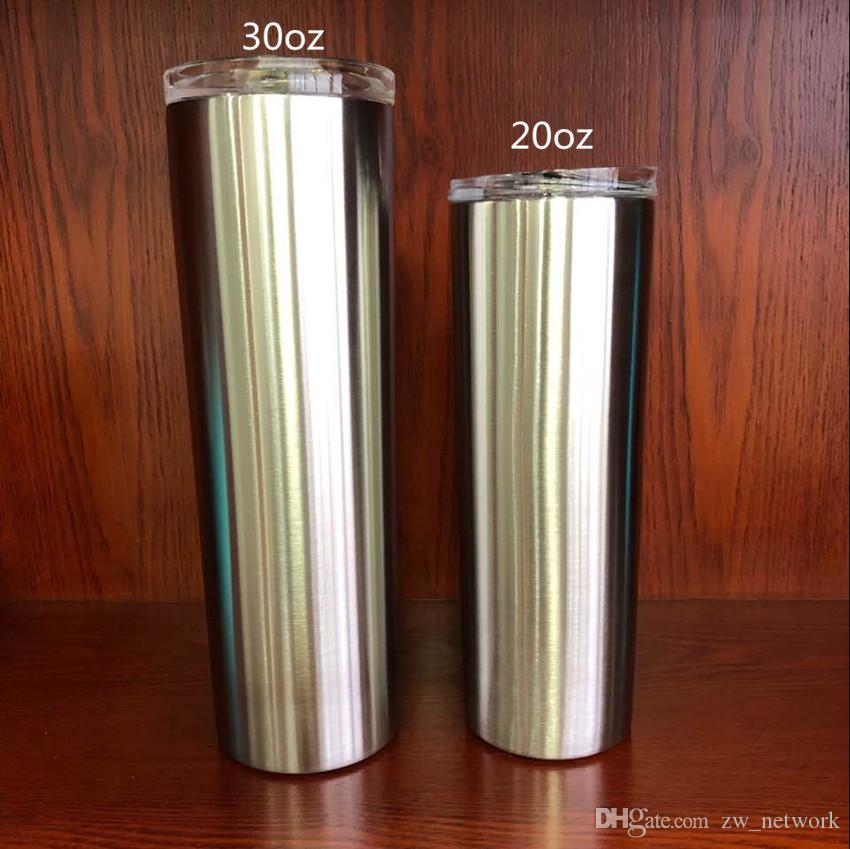 d6f90a31942 2019 30OZ Stainless Steel Skinny Tumbler 30oz Sippy Cup With Slid Lid  Straight Drinking Cup Vacuum Insulated Tumblers Water Bottle Coffee Mugs  From ...