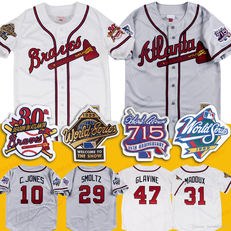 timeless design ab744 dd336 Atlanta 1999 Braves Jersey 1995 world series 715 HR 25th patch 29 John  Smoltz 31 Maddux 10 Chipper Jones Tom Glavine Baseball Jerseys