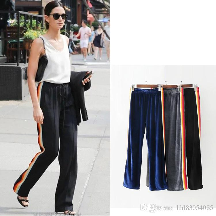 Pants & Capris Gold Velvet Trousers Wide Casual Pants Female Wide Leg Trousers Was Thin Sports Pants 2018 Autumn And Winter New Pants