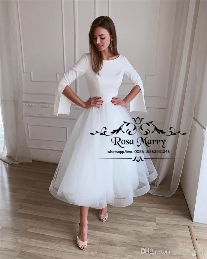 Discount Modest Plus Size Short Wedding Dresses 2019 White Long Sleeves Cheap Teal Length 1950s Tulle Simple Country Beach Bridal Gowns: Simple Short Wedding Dresses Plus Size At Websimilar.org