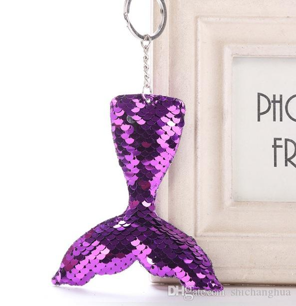 9 Colors Sequins mermaid Pendant Keychains Car Key Rings Lovely Glitter Pompom Sepuins Key Holder mermaid Key Chain fish tail keychain