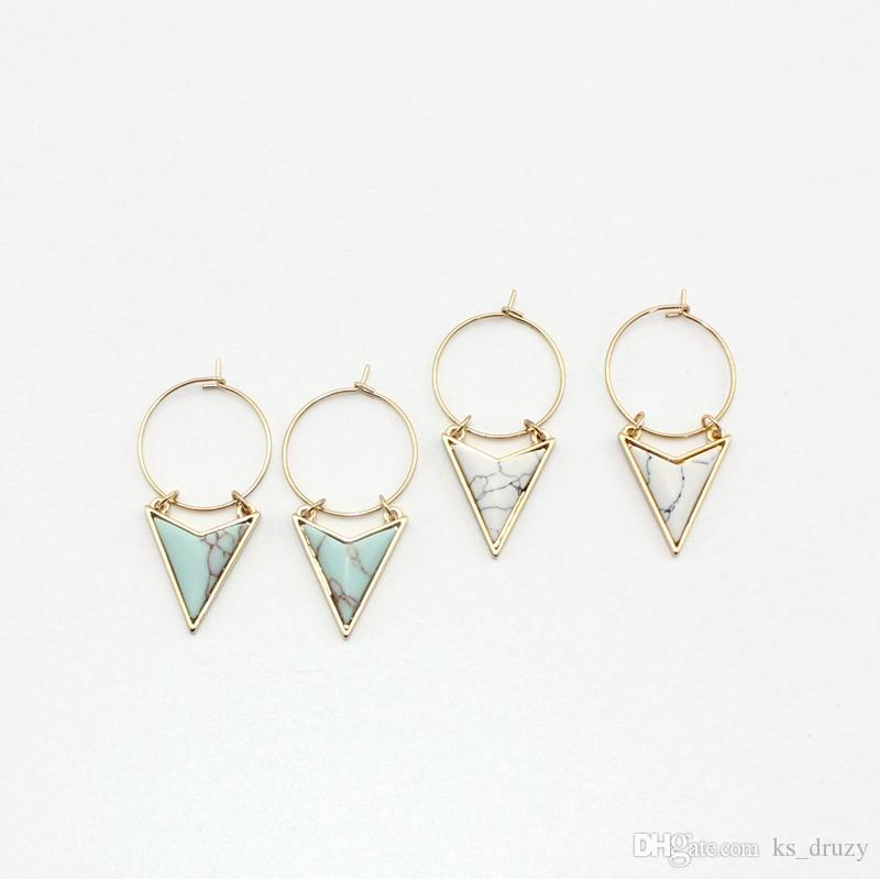 Gold Color Triangle White Green Turquoise Marble Earrings Natural Stone Charms Dangle Earrings Jewelry For Women