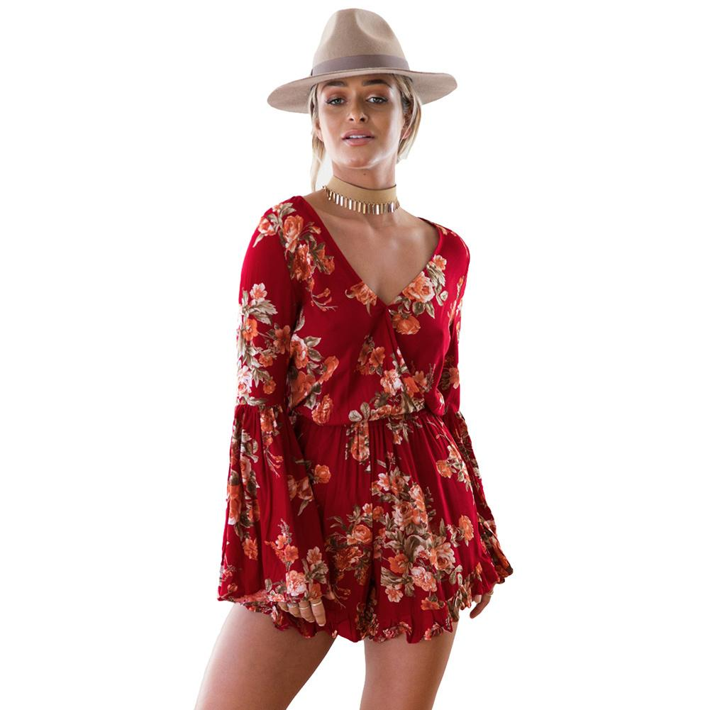 ac7fb58a3f 2019 Sexy Bodysuit Women Floral Print V Neck Long Flare Sleeve Playsuit  Elastic Waist Beach Holiday Jumpsuit Rompers Red Overalls From Bibei02