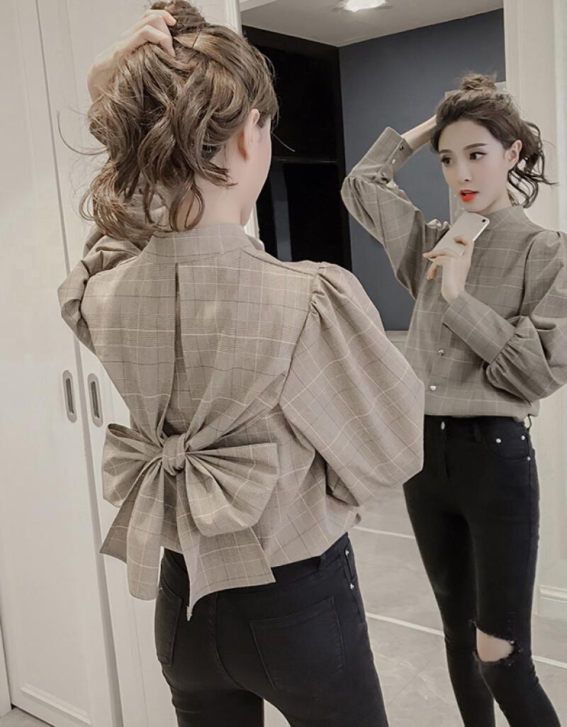 d7785d4d94d 2019 2019 Spring Summer Korean Fashion Women Shirts Long Lantern Sleeve  Plaid Shirts Back Bowtie Sweet Blouse Chic Ladies Tops Blusas From Manteau