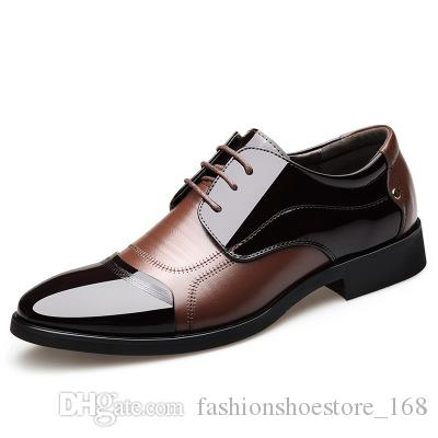 b14be0e7168 New Fashion Men Patent Leather Dress Shoes Height Increasing 6CM Breathable  Elegant Man Wedding Business Shoes Men Formal Oxford Shoes