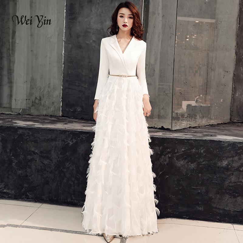 16db5a5114 Wei Yin 2019 White Evening Dresses Elegant Lace Evening Gowns Long Formal  Evening Dress Styles Women Prom Party Dresses Wy1289 Y19042701