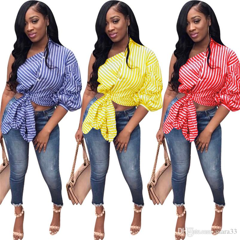 Women summer Blouses & Shirts plus size fashion stylish one shoulder lantern 1/2 sleeve short crop top off shoulder striped asymmetrical 513