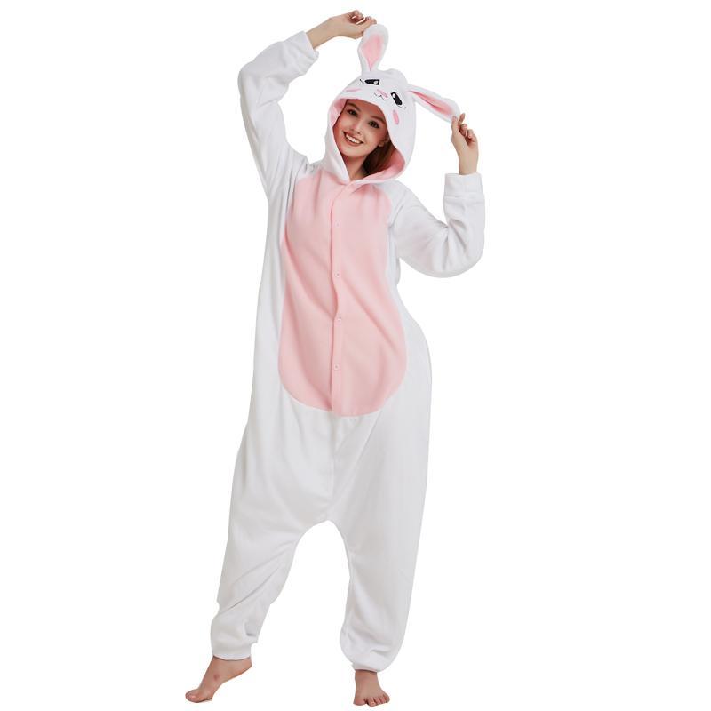 Хэллоуин Белый Флис Кролик Kigurumi Для Женщин Зимние Пижамы Кролик Onesie  Для Взрослых Косплей Костюм Партии Пижамы Мужчины b6d231c25e57f