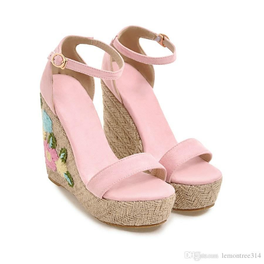 1028ce18ae9 Women Open Toe Embroidered Wedges Sweet Sandals Lady Buckle Strap Platform  Sandals Espadrille Wedge Casual Platform Shoes XW59 Shoe Shop Cute Shoes  From ...