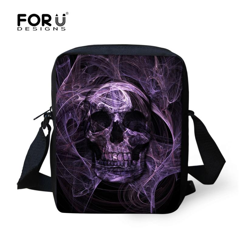 Crânio 3D FORUDESIGNS Punk Estilo Men Messenger Bags Para Flap Adolescente Meninos Mens Pequenas Shoulder Cross-corpo Bags Mochilas Infantil