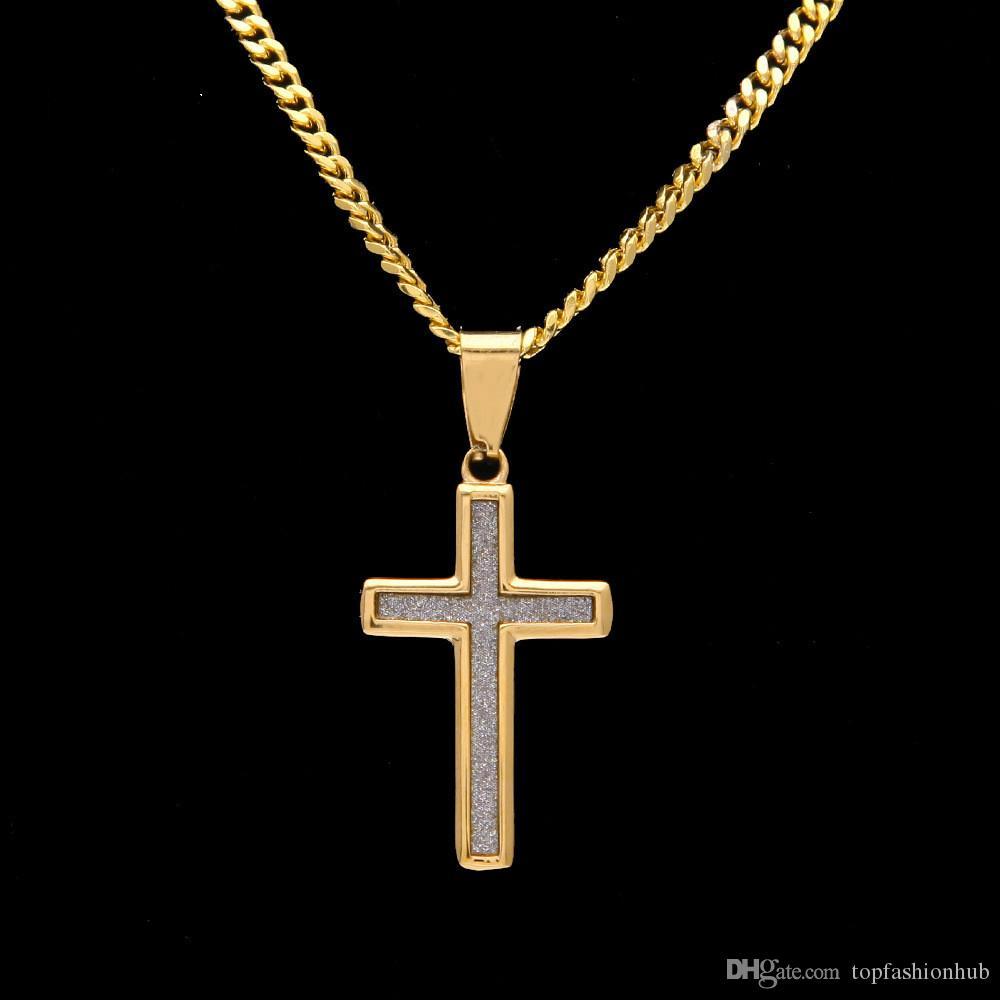 New Hip Hop Cross Pendant Mini Star Diamond Powder Cross Color Protection  Stainless Steel Boutique Pendant