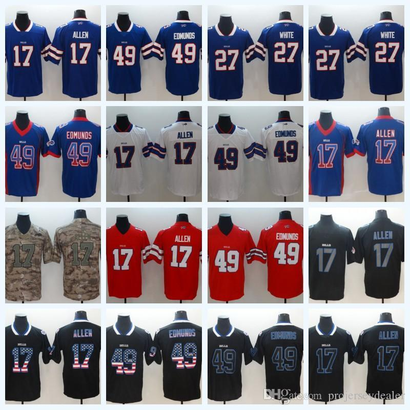 new arrivals bea62 7f32c Mens 17 Josh Allen 49 Tremaine Edmunds 27 White Bills Football Jersey USA  Flag Stitched CAMO American Football Jersey Free Shipping
