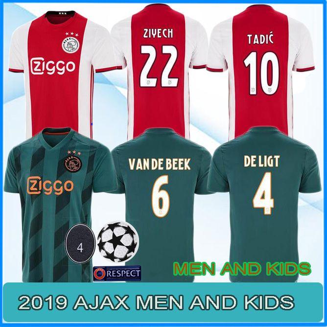 8591624b7 2019 19 20 AJAX Soccer Jersey DE JONG TADIC DE LIGT ZIYECH NERES MEN ...