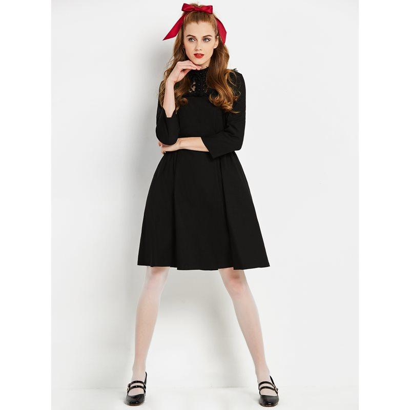498a6a92f2 Sisjuly Vintage Dresses Women 1960s Long Sleeve Lace Black Fashion Elegant  Spring Chic Girl Retro Female Casual Short Dress Petite Cocktail Dresses  Red ...