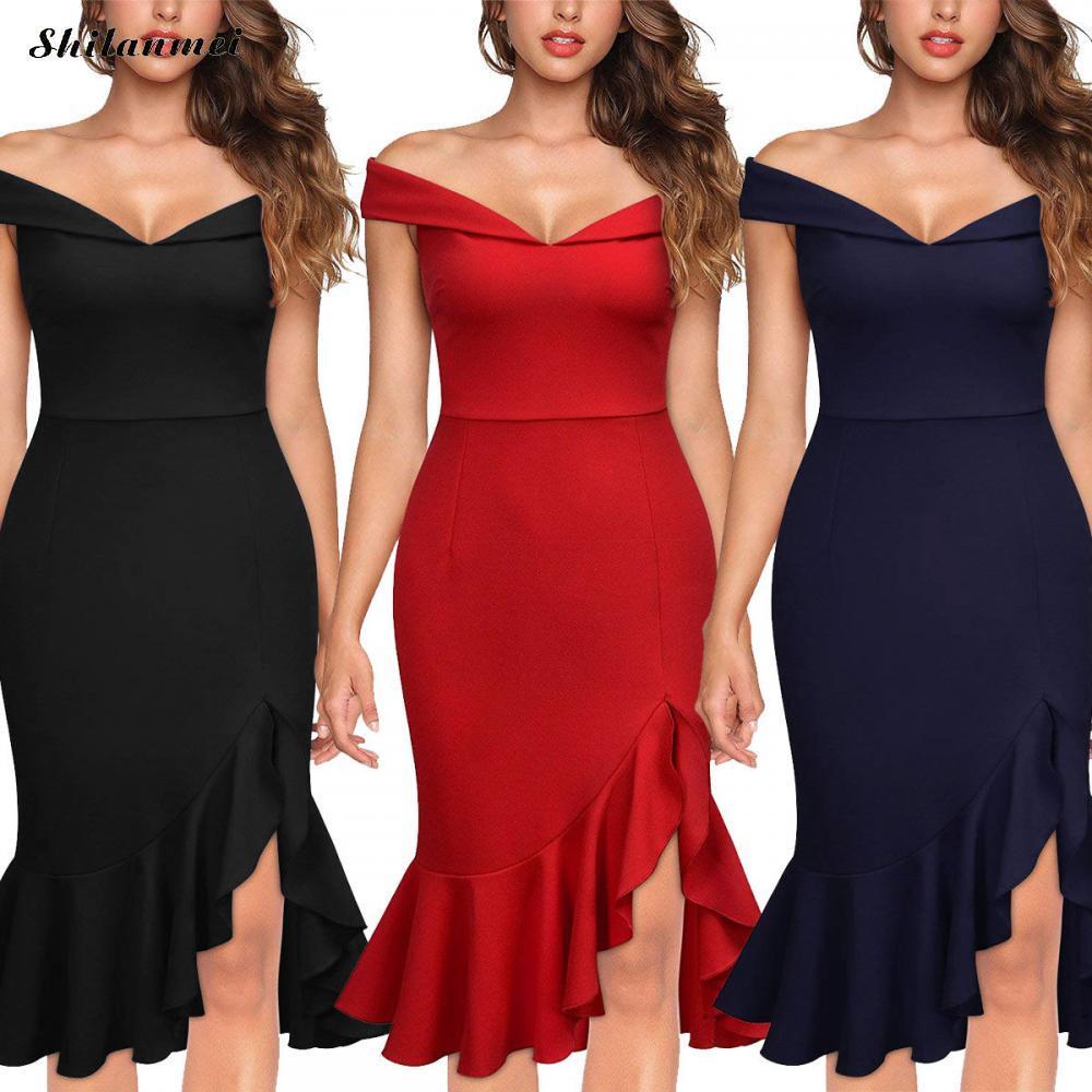 80b29d2fbc41e Backless Sexy Evening Party Dress Women Off Shoulder Summer Dress 2019  Female Elegant Slash Neck Ruffle Irregular Vestidos Clothing Dress Cocktail  Dress ...