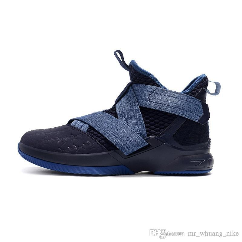 online store 774d7 25adc Mens lebron soldier 12 basketball shoes college navy blue agimat snakeskin  youth kids soldiers xii sneakers tennis with box
