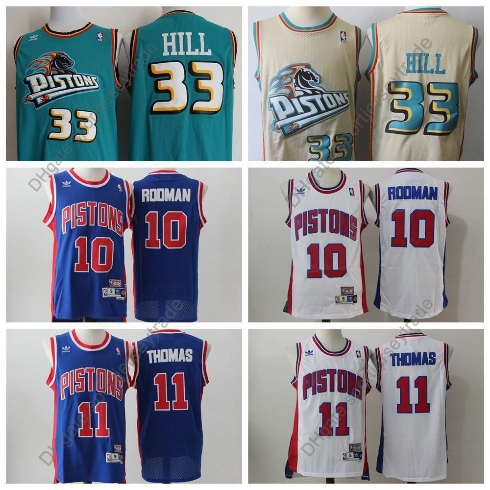 hot sale online 6d082 4cc37 Top Quality Vintage Mens #33 Detroit Grant Hill Pistons 1996 Classic Gold  Basketball Jersey Cheap Dennis Rodman Isiah Thomas Stitched S-XXXL