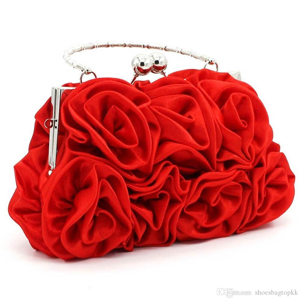 Girls Shoulder Bag Satin Rose Pure Color Wedding Women Handbag Evening Lady Bags Dropship 2019 bolsa feminina sac a main