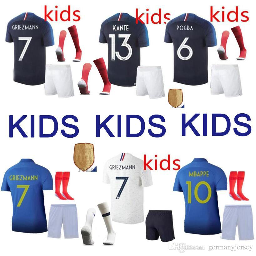 premium selection 6f77d 6330b New 2019 Two stars 2 GRIEZMANN MBAPPE Kids France soccer jersey boys child  Centenary POGBA Long sleeve football shirt maillot de foot