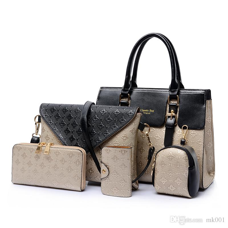 5 PCS/Sets Woman Handbag PU Leather Composite Bag New Female Messenger Purse Card Key Bag Designer