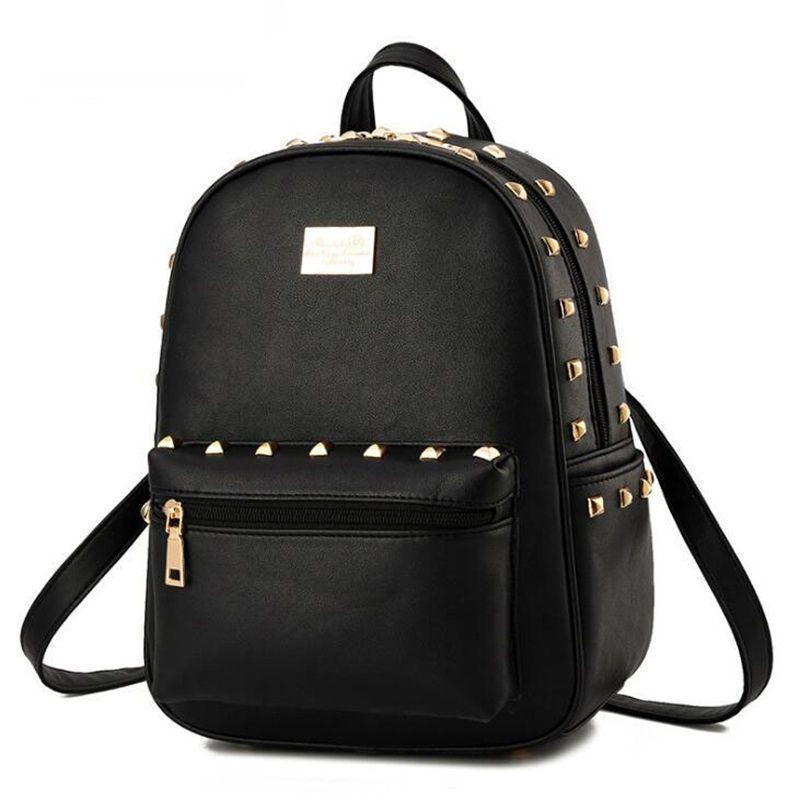 Goood Quality Hot Small Rivet Women Backpacks Fashion Pu Leather Women  Shoulder Bag Rivet Small Ladies Backpack Girls School Bags Best Backpacks  Girls ... 07d6b2d9b7c11