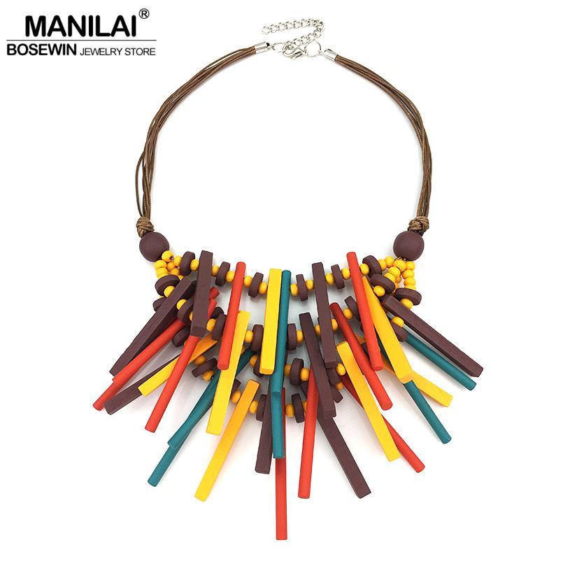 856091e30dfe MANILAI 2018 New Design Bohemian Handmade Wood Statement Necklace For Women  Fashion Jewelry Collar Choker Necklace Big Wooden