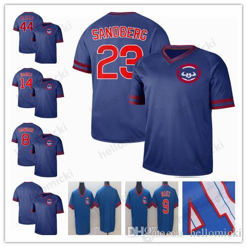 12d3c2ef19a 2019 2019 Cubs Jersey Chicago 23 Ryne Sandberg 9 Javier Baez 44 Anthony  Rizzo 8 Andre Dawson 14 Ernie Banks Mens Baseball Jersey From Hellomicki