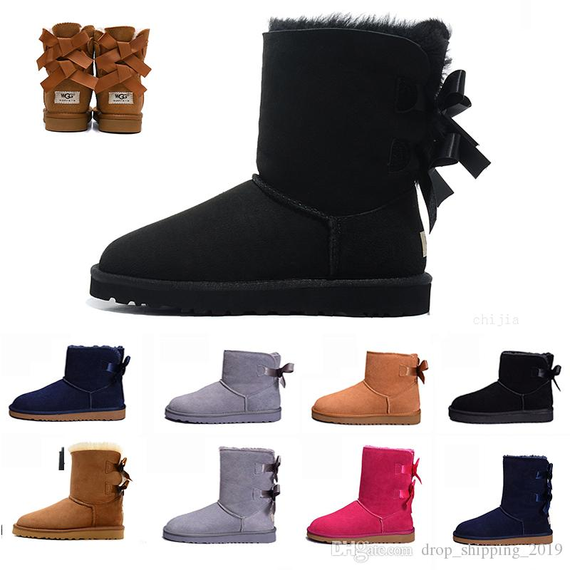 2019 UGG BOOTS WGG Snow Winter Leather Women Australia Classic kneel half Boots Ankle boots Black Grey chestnut navy blue red Womens girl shoes 36-41