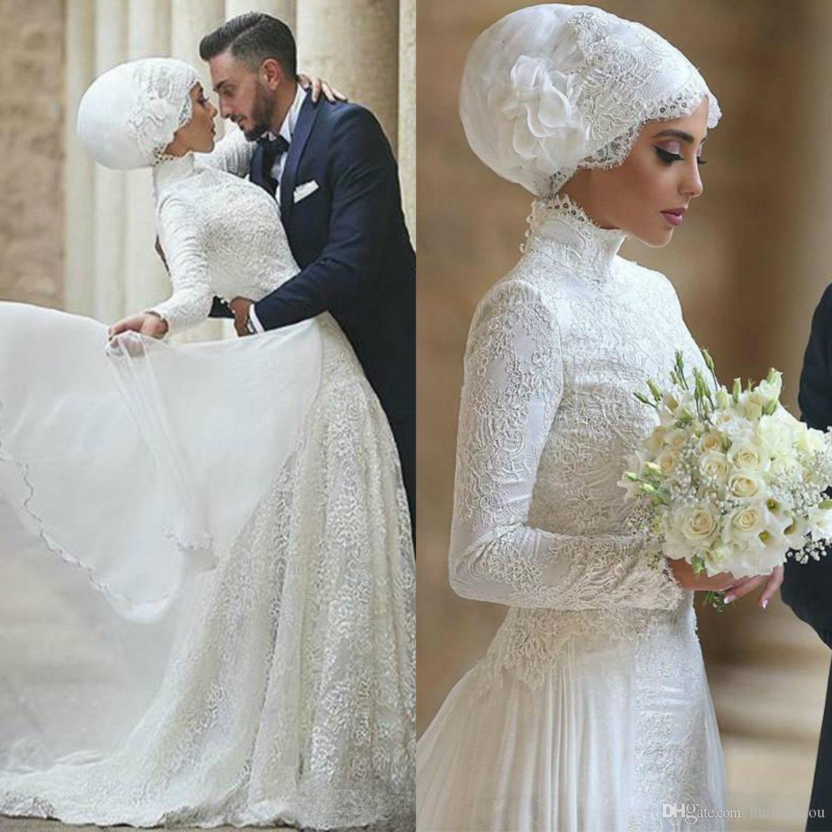 f5de89ec53ce Discount Middle East Muslim Wedding Dresses 2019 Long Sleeve Lace Applique  Dubai Arabic Bridal Gowns Plus Size Wedding Dress Vestido De Novia  Affordable ...